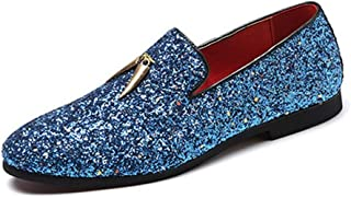 ZiWen Lu Driving Loafers for Men Casual Shoes Slip On Style PU Upper Solid Color Experienced Stitched Pointed Toe Soft Rhinestone Metal Ring Decor (Color : Blue, Size : 5 UK)