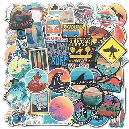 FSVGC Cool Summer Beach Surf Sticker Surfboard Sticker Bomb Suitcase Mobile Phone Laptop Luggage Tablet Water Decal Bag 100Pcs