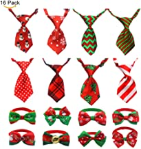 JIATECCO Christmas Dog Ties 16 Pack - Adjustable Small Pet Bow Tie Neckties for Puppy Cat Festival Collar Accessories