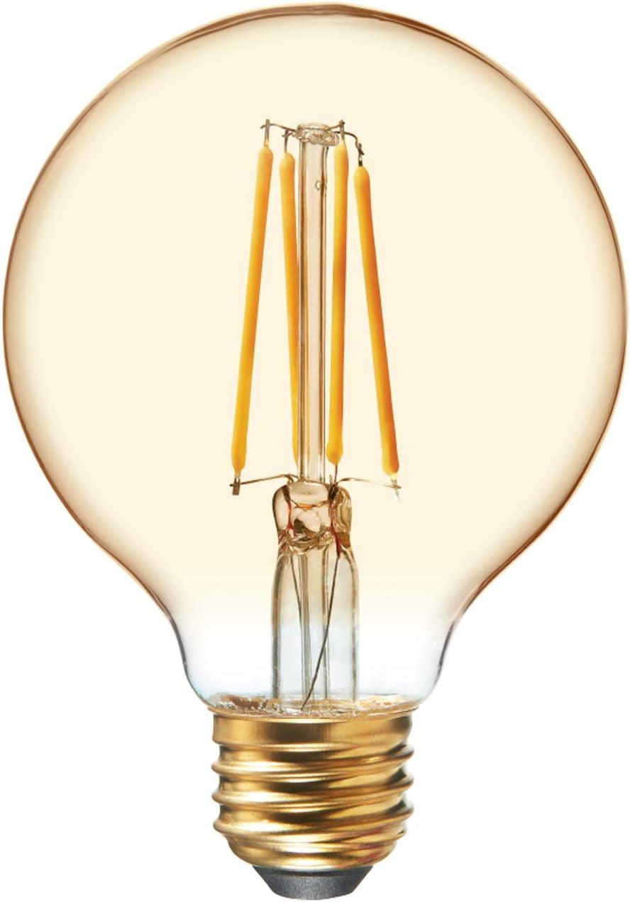 GE Lighting Globe LED Vintage Light Bulb, G25 Amber Glass, LED Edison Bulb, 40 Watt Replacement, Dimmable, Medium Base, 1-Pack