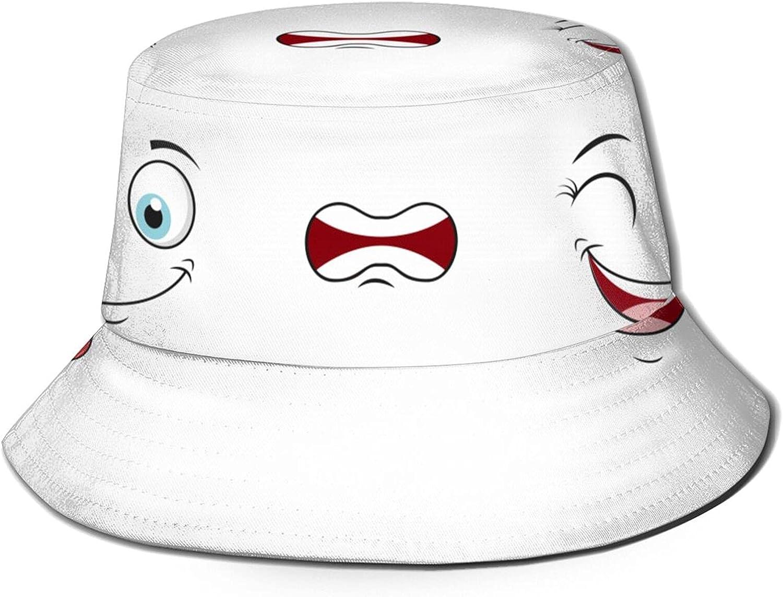 Funny Cartoon Face Icon Set Bucket Hats Beautiful Summer Travel Beach Sun Hat Black