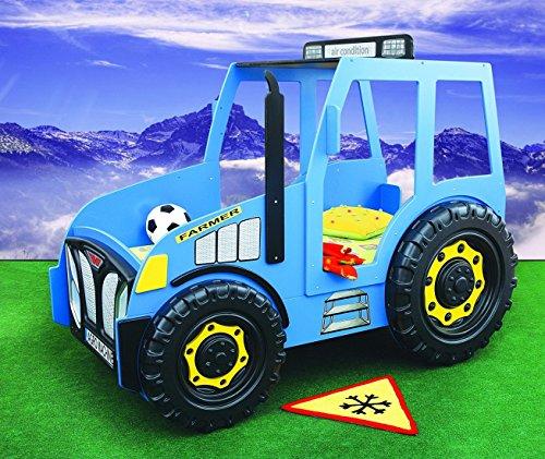 Kinderbett Traktor in Blau inkl. Matratze + Rost