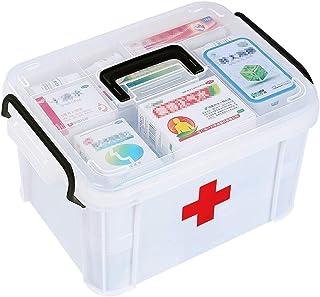 DYAKC Medicine Box Storage Box Organizer 2 Layers with Compartments Family Emergency Kit Storage Case 33 x 24 x19 cm
