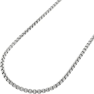 """Sterling Silver Italian 2mm Round Box Link Solid 925 Rhodium Necklace Chain 16"""" - 24"""""""
