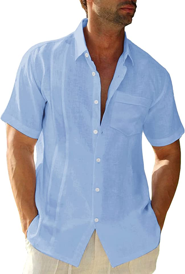 Herren Kurzarm Hemd Sommerhemd Freizeithemd mit Brusttasche Regular Fit Men Shirts
