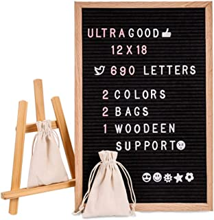 Letter Board, Felt Letter Board with 690 PCS Replaceable Letters &Lovely Emojis, 12x18 Inches Solid Oak Wood Material, Decorative Display Board Designed with Metal Hook and Wooden Support