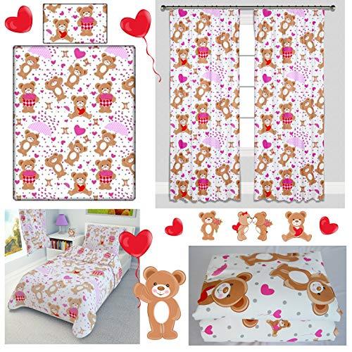 Pink Teddy Bears Nursery Girl Baby Bedding Set 4-Piece incl Duvet + Pillow + Duvet Cover + Pillowcase (90x120 cm)