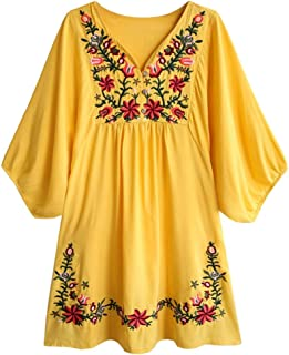 Summer Dress V Neck Mexican Embroidered Peasant Women's Dressy Tops Blouses