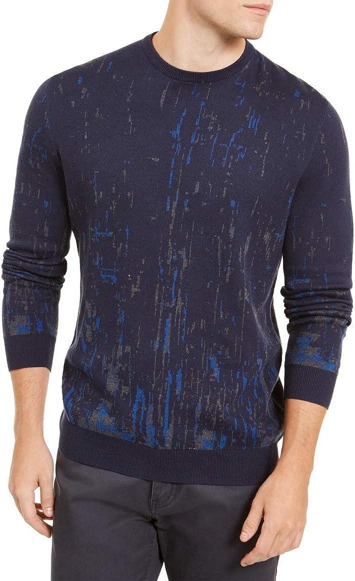 Alfani Mens Sweater Navy Crewneck Paint Splatter Crew Blue XL