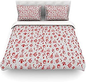 "Kess InHouse Snap Studio ""Miniature Christmas Red"" Gray Twin Cotton Duvet Cover, 68 by 88-Inch"