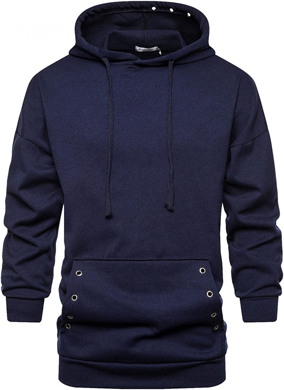Men's Hoodies Pullover Hooded Sweatshirts Heavyweight Casual Solid Long Sleeve Tops Hollow Ring T-Shirts Blouse
