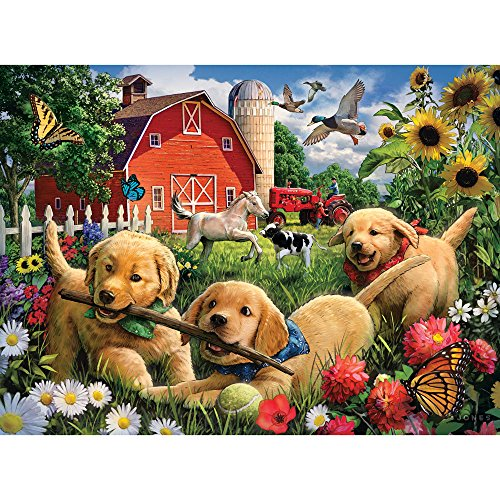 Bits and Pieces - 300 Piece Jigsaw Puzzle for Adults - Farmyard Pups - 300 pc Golden Retriever Puppies Jigsaw by Artist Larry Jones