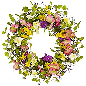 18 Inch Spring Summer Wreath for Front Door Artificial Floral Door Wreath with Vibrant Silk Flowers and Green Leaves for Home Farmhouse Holiday Decor