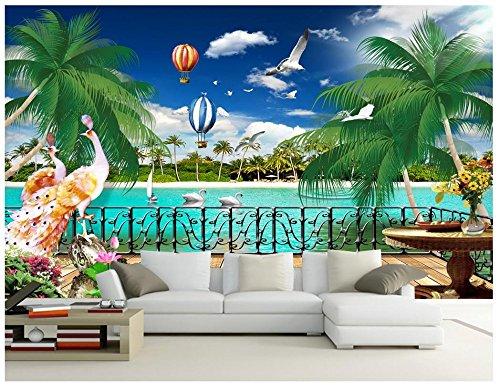 Mznm Custom 3D Wallpaper Muurschilderingen Behang Mediterrane muurschildering mooie balkon zeeblik TV Sofa achtergrond muurschildering 350 x 250 cm.