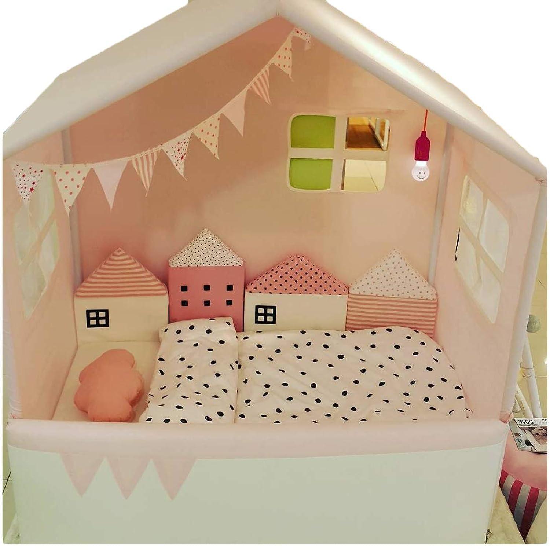 ベッドガード ベビー かわいい ハウス型 サイドガード 組み合わせ 4点セット 赤ちゃん転倒防止 衝撃吸収 北欧 ベッドバンパー バンパークッション 出産祝い ギフト (ピンク)