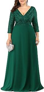 Ever-Pretty Vestiti da Sera Scollo a V Manica 3/4 con Paillettes Chic Linea ad A Donna Taglie Forti 00751PL