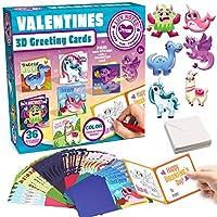 バレンタイングリーティングカード ふわふわステッカーカードセット 36枚パック 子供のパーティー記念品 教室交換賞 バレンタイン3Dグリーティングカード 再利用可能なふわふわステッカー付き