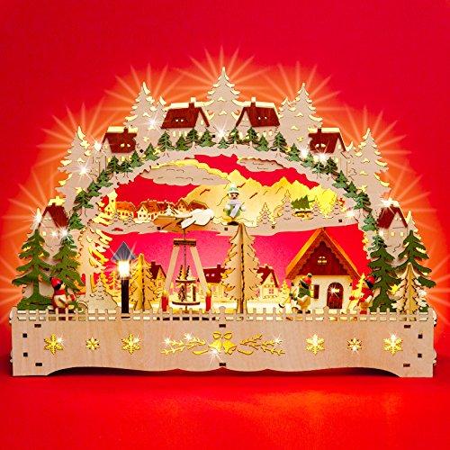 Sikora LB76 beleuchteter LED Holz Schwibbogen WINTERDORF mit Weihnachtspyramide und Laterne inklusive Trafo