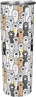 Cyliyuanye Taza de viaje con aislamiento de paja para huellas de mascotas, color blanco, 600 ml