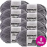 Bernat Dark Grey, Blanket Big Ball Yarn, Multipack of 8, 8 Pack