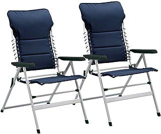 Campart Travel CH-0592 Novara - Juego de 2 sillas de camping (50 cm de altura, 7 posiciones, ajustables), color azul