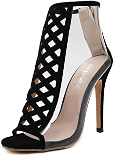 Women's Clear Lucite Chunky Heeled Sandal Pointy Toe High Heel Women's Pump Dress Sandals Ankle Stilettos