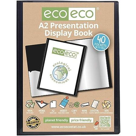 eco-eco A2 50% Recyclé 40 Pocket Couleur Noir Présentation Affichage du Livre, eco008