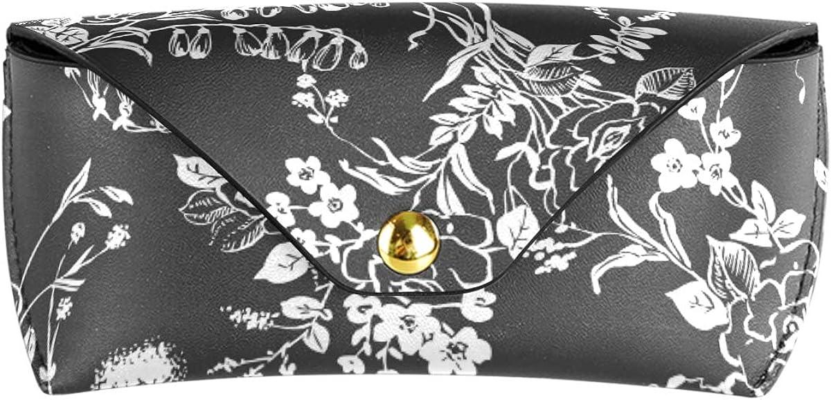 Shading Art Flower Pattern Goggles Bag Sunglasses Case Eyeglasses Pouch Portable Multiuse PU Leather School