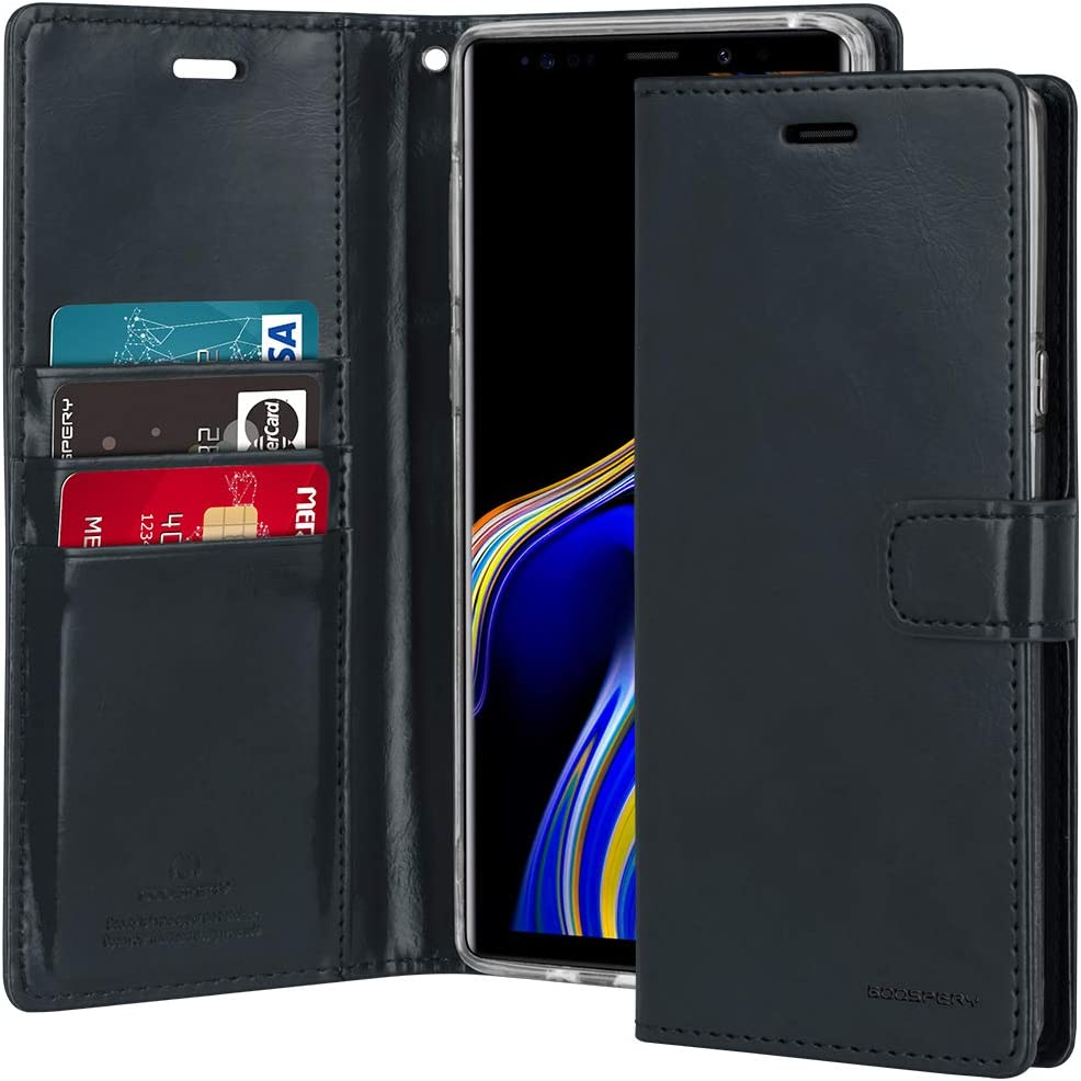 Goospery Blue Moon Wallet for Samsung Galaxy Note 9 Case (2018) Leather Stand Flip Cover (Dark Navy) NT9-BLM-NVY
