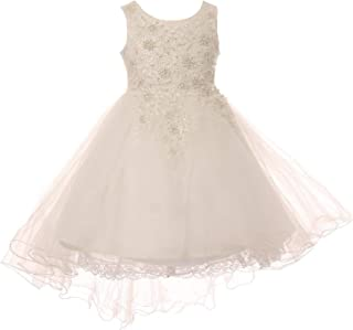988d5b77f7b Little Girls White Rhinestone Pearl Wired Tulle Hi-Low Flower Girl Dress 2-6