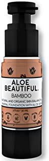 Organic Liquid Mineral Foundation Makeup with Aloe - All Natural Vegan Gluten Free Ingredients - Made In USA, Bamboo