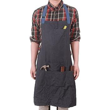 Segbeauty Grembiule Jeans Uomo Grembiule Artigiano Cucina Grembiule Cuoco con 5 Tasche Denim Grembiule BBQ Giardinaggio Regolabile Cinghie per Vita del Lether Grembiule Lavoro per Server