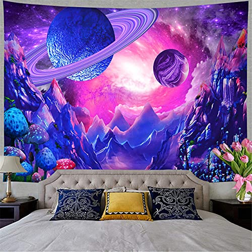 """Uhsupris Space Tapestry Trippy Planet Tapestry Psychedelic Mushroom Tapestry Fantasy Galaxy Tapestry Mountain Tapestry wall Hanging for Bedroom Home Decor(H51.2""""×W59.1"""", Space Tapestry)"""