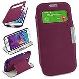 Bolso OneFlow para Funda Samsung Galaxy S4 Mini Cubierta con Ventana   Estuche Flip Case Funda móvil Plegable   Bolso móvil Funda Protectora Accesorios móvil protección paragolpes en Indego-Violet