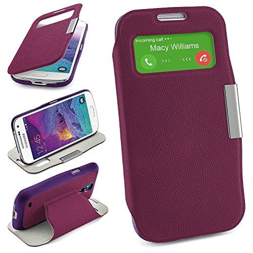 Bolso OneFlow para Funda Samsung Galaxy S4 Mini Cubierta con Ventana | Estuche Flip Case Funda móvil Plegable | Bolso móvil Funda Protectora Accesorios móvil protección paragolpes en Indego-Violet