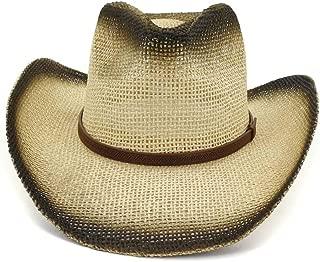 LiWen Zheng Women Men Western Cowboy Hat Hademade Straw Sun Hat Outdoor Sunscreen Men's Thin Belt Beach Hat