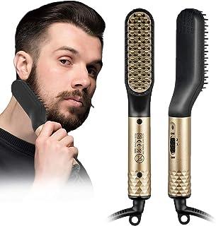 Skäggplattång kam för män, skäggplattång borste 2-i-1 hårkam, keramisk jonisk värmekontroll elektrisk hårborste, 360° rote...