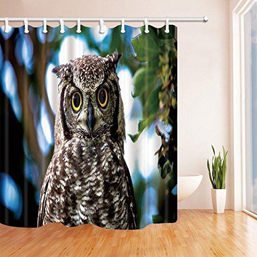CDHBH Wild Safari Duschvorhänge für Badezimmer mit Eulen auf Zweigen, grüne Blätter Stoff Polyester-Duschvorhang Badezimmer Duschvorhang Haken inklusive 71x 71in