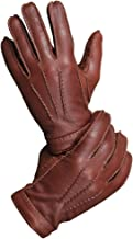 CHULRITA Mens Deerskin Leather Drivers Gloves with Wool Lining