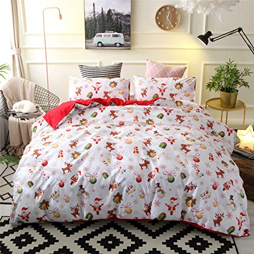 RENXR Christmas Bedding Duvet Set Double/King Quilt Cover with Pillowsham Kids Xmas Bedding Set Print Duvet Cover Multi-Colour,Full