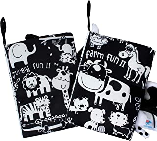 ORAPOH Jungle and Farm Tail Soft Black and White Baby Early Education Toy, Activity Crinkle Cloth Book for Toddler, Infant...