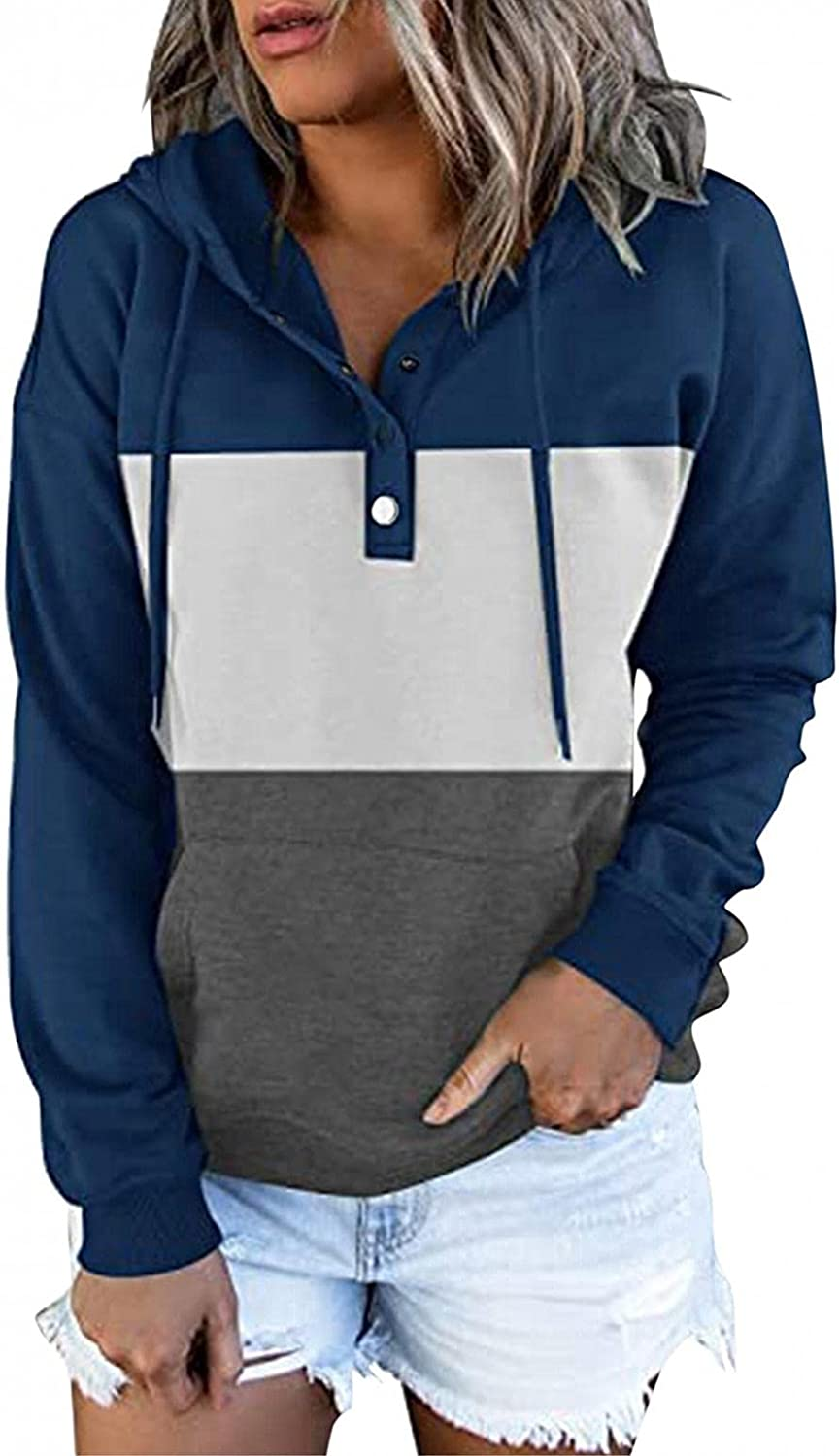 felwors Pullover Hoodies for Women, Womens Hoodies Button Down Long Sleeve Casual Sweatshirt Basic Loose Plus Size Coat