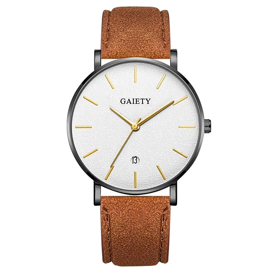 COLNER Mens Watches Analogue Quartz Date Calendar Wrist Watch for Man with Leather Strap Luxury Business Fashion Gents Dress
