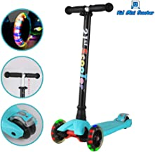 Scooter for Kids with 3 Smooth LED Light Up Wheels and Adjustable Height, Mini Kick Scooter for Girls Boys Toddlers Children from 3 to 14 Year-Old, Max Weight 143 pounds (65kg)
