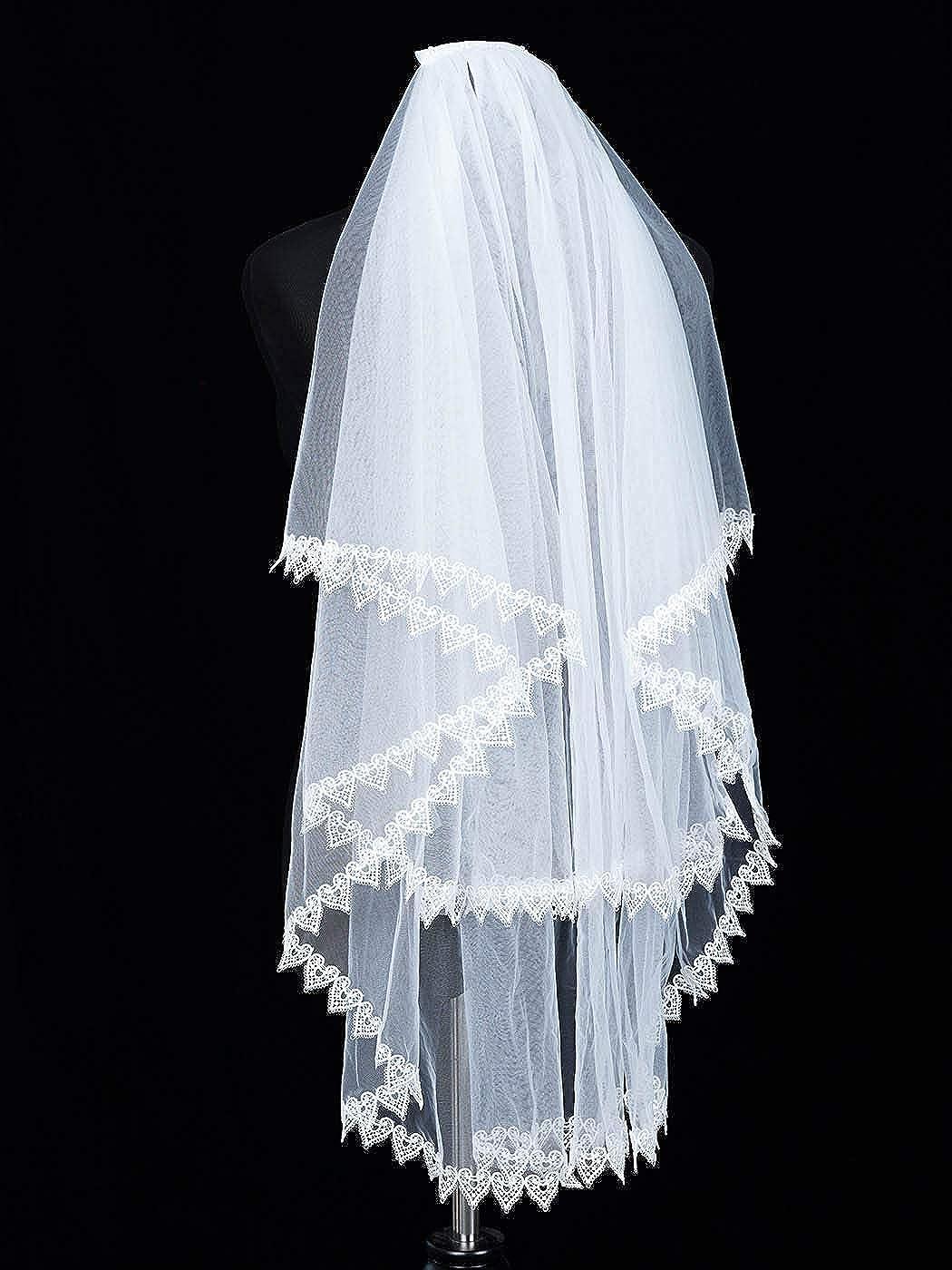 Aunica Women's Wedding Bridal Veil 2 Tier Lace Applique Edge Bride Veils with Comb Fingertip Length Wedding Headpiece (White)