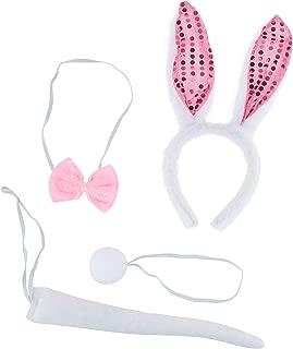 Lux Accessories Halloween Girls Bunny Rabbit Ears Headband Accessories Costume Set