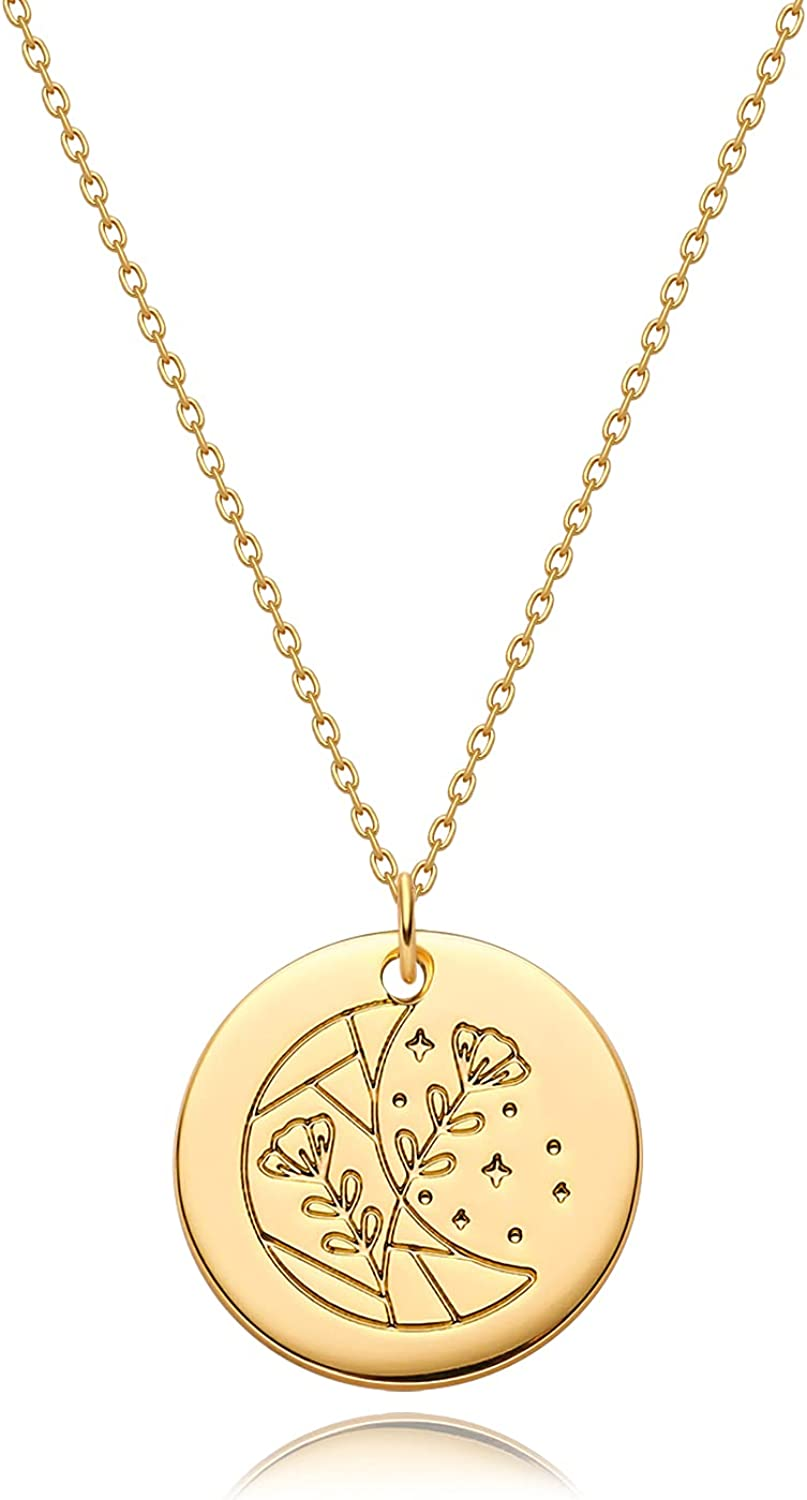 Fettero Coin Necklace Gold Pendant Disc Patterned Engraved 14K Gold Plated Dainty Chain Simple Personalized Celestial Jewelry Birthday Gift for Women
