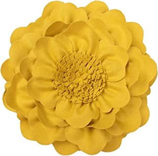 JWH 3D Peony Flower Accent Pillow Handmade Cushion Decorative Pillowcase with Pillow Insert Cotton Sham Wool Flower Home Bed Living Room Decor Girl Gift 14 Inch Yellow