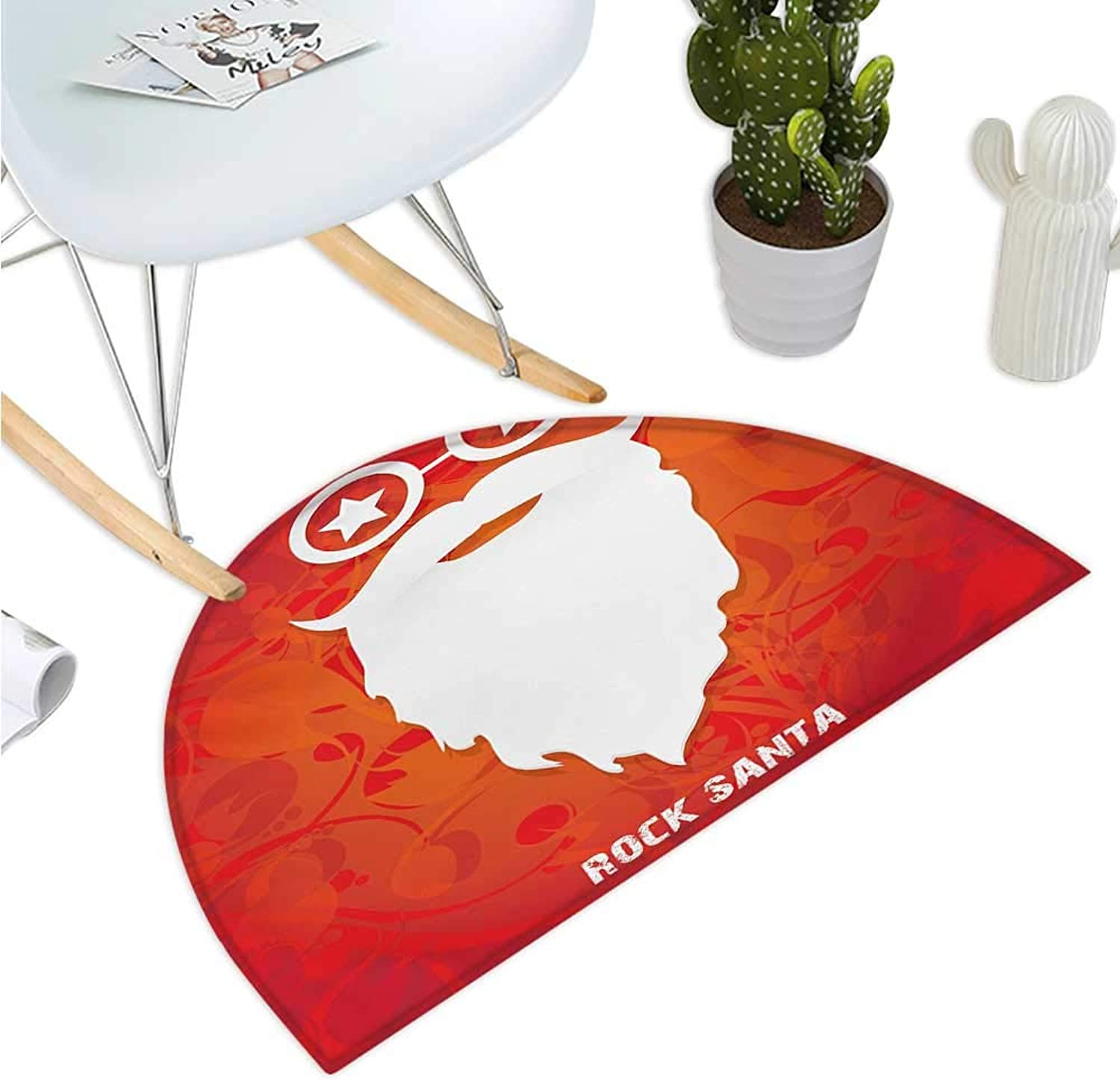 Indie Semicircular Cushion Rock Santa Claus Christmas Theme Beard Silhouette and Round Glasses with Stars Bathroom Mat H 39.3  xD 59  Red orange White
