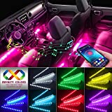Car Interior Lights, Caferria Car LED Strip Light 4pcs 48 LED App Controller Waterproof Multi DIY Color Music...